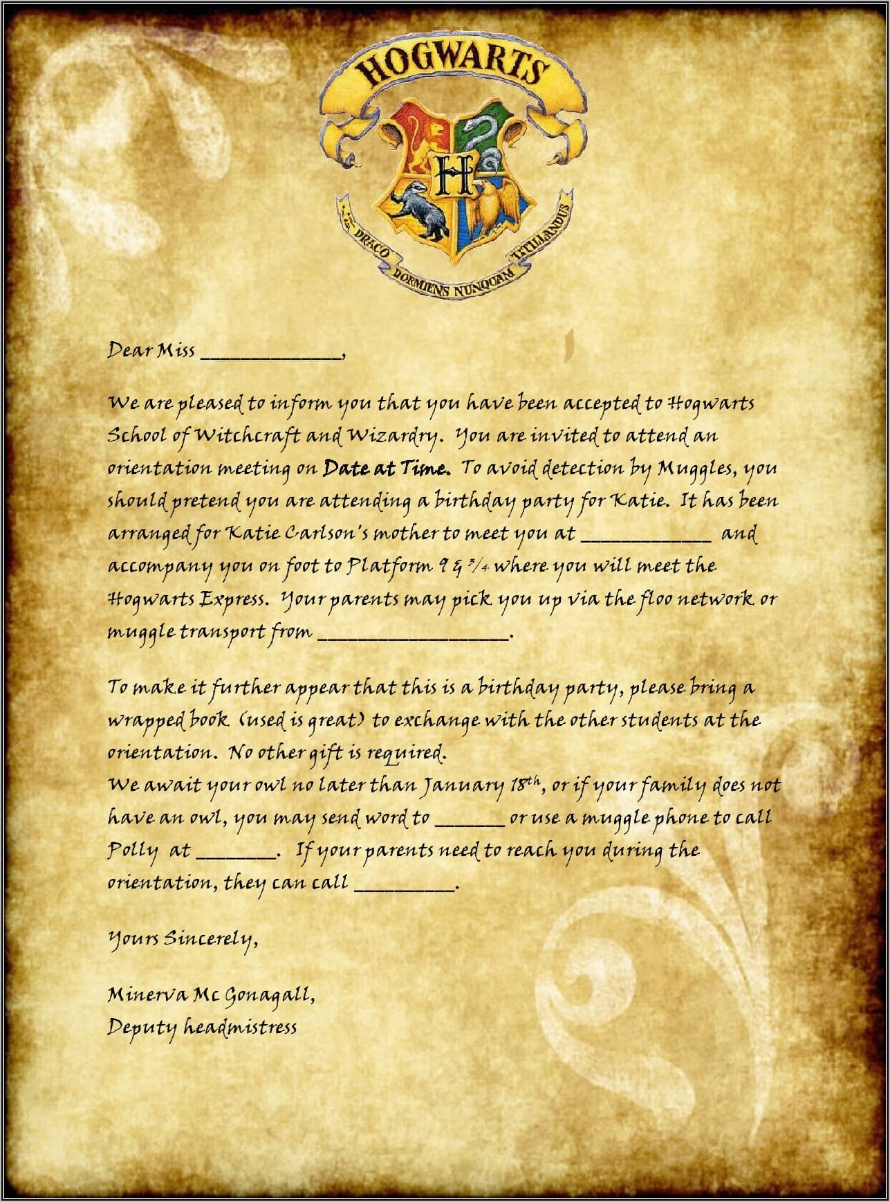 Free Printable Editable Hogwarts Acceptance Letter Template
