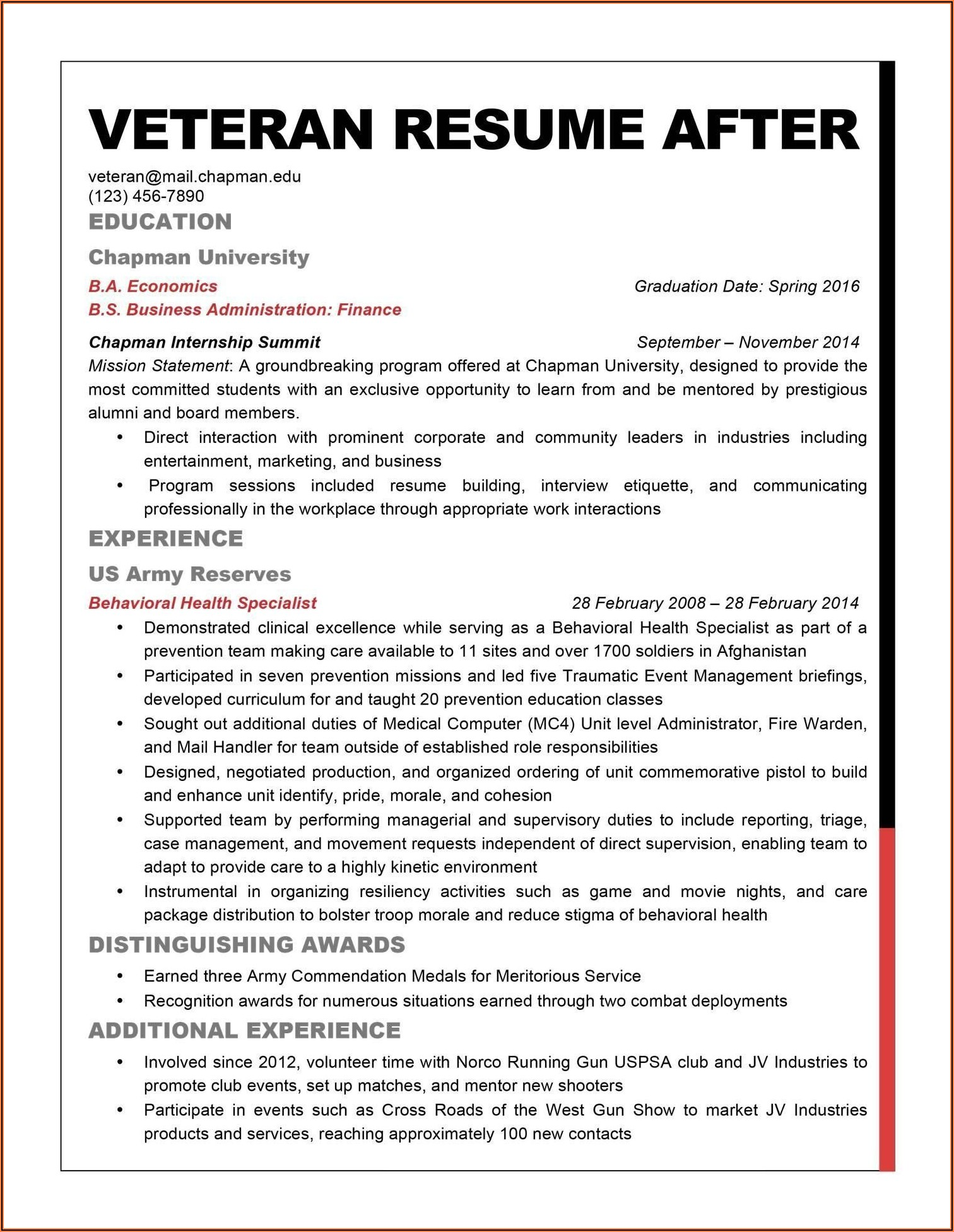 Free Resume Help For Military