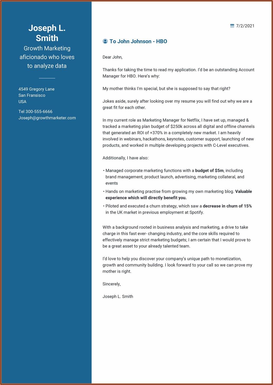 Free Samples Of Cover Letter For Cv