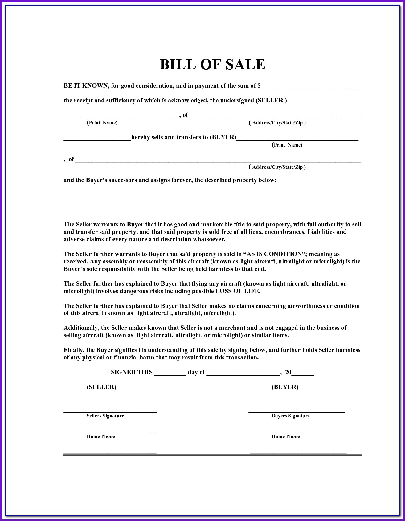 Free Used Car Bill Of Sale Ontario Template Word