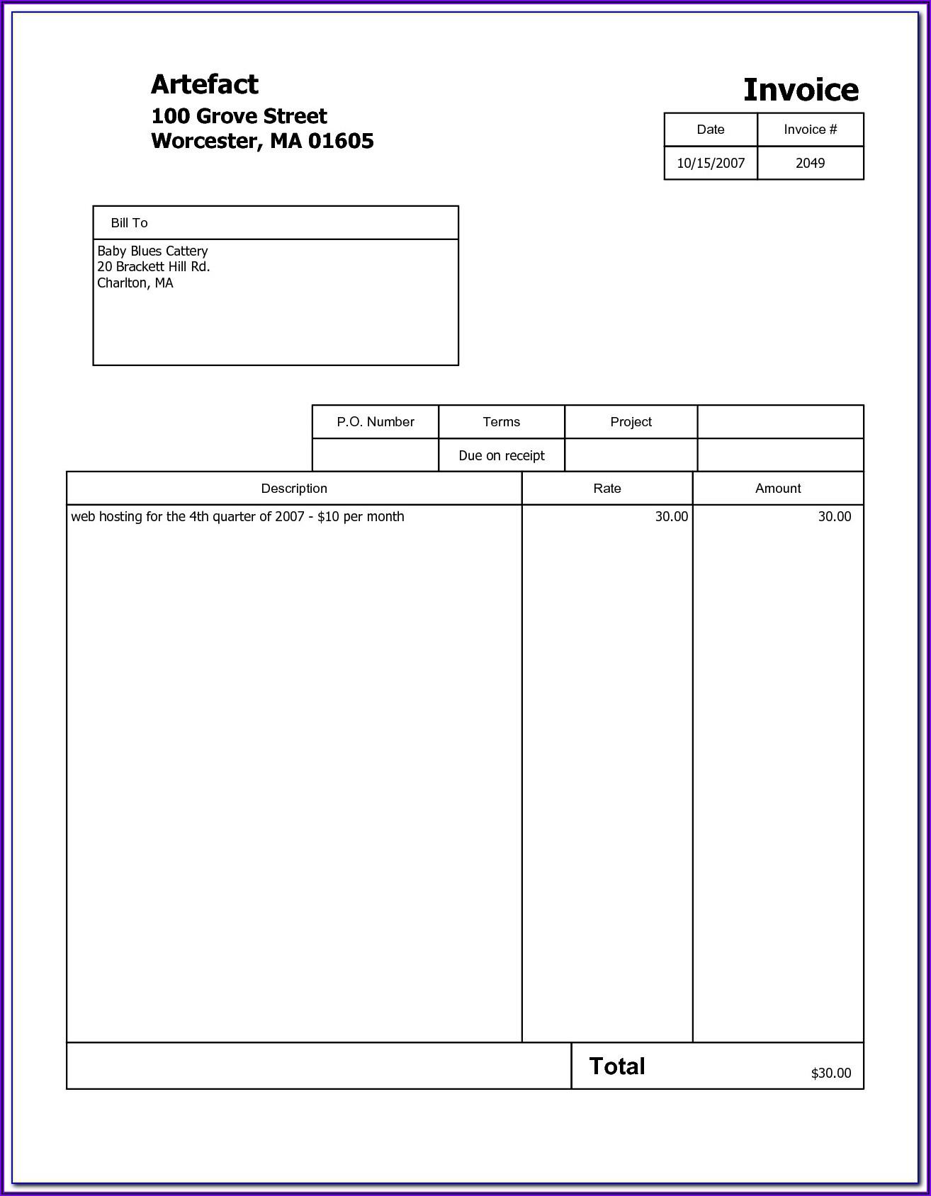 Free Word Printable Invoice Template Uk