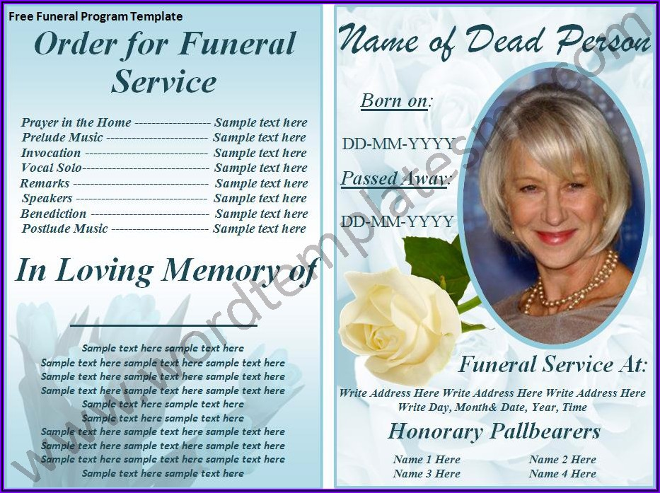 Funeral Program Template Word Download