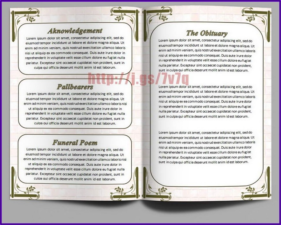 Funeral Program Template Word Free Download