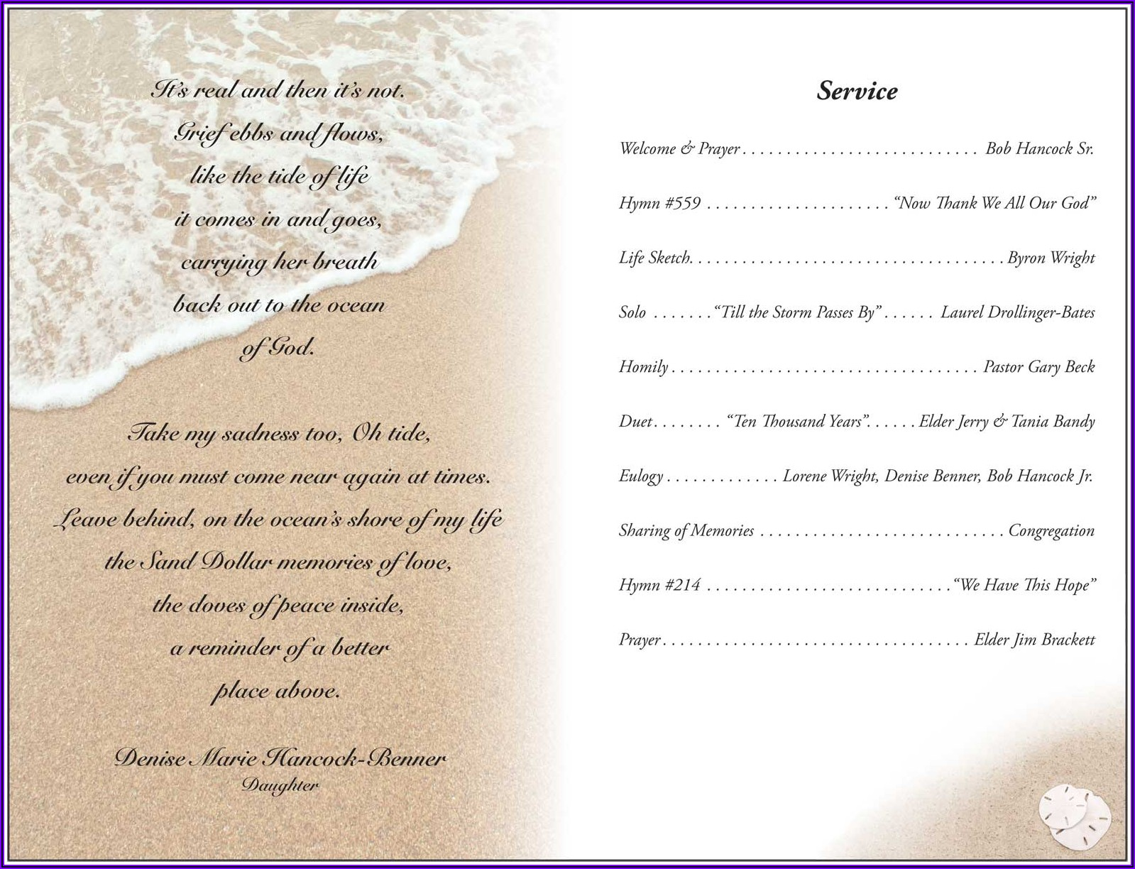 Funeral Program Template Word South Africa