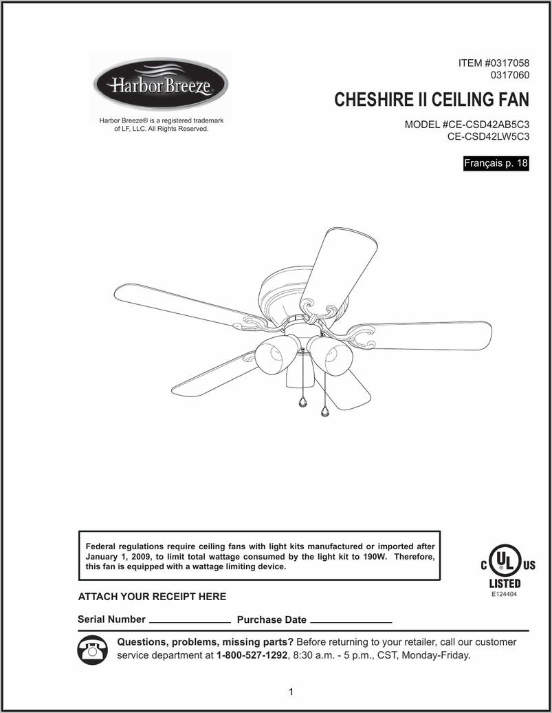 Harbor Breeze Ceiling Fan Installation Instructions