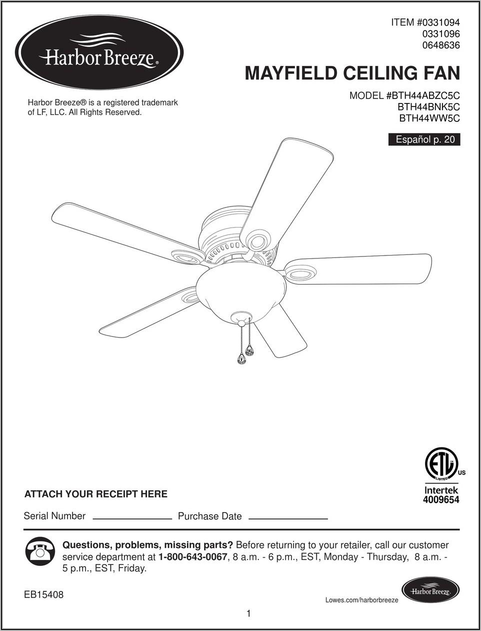 Harbor Breeze Mayfield Ceiling Fan Installation Instructions