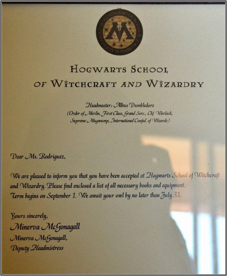 Harry Potter Acceptance Letter Template Free
