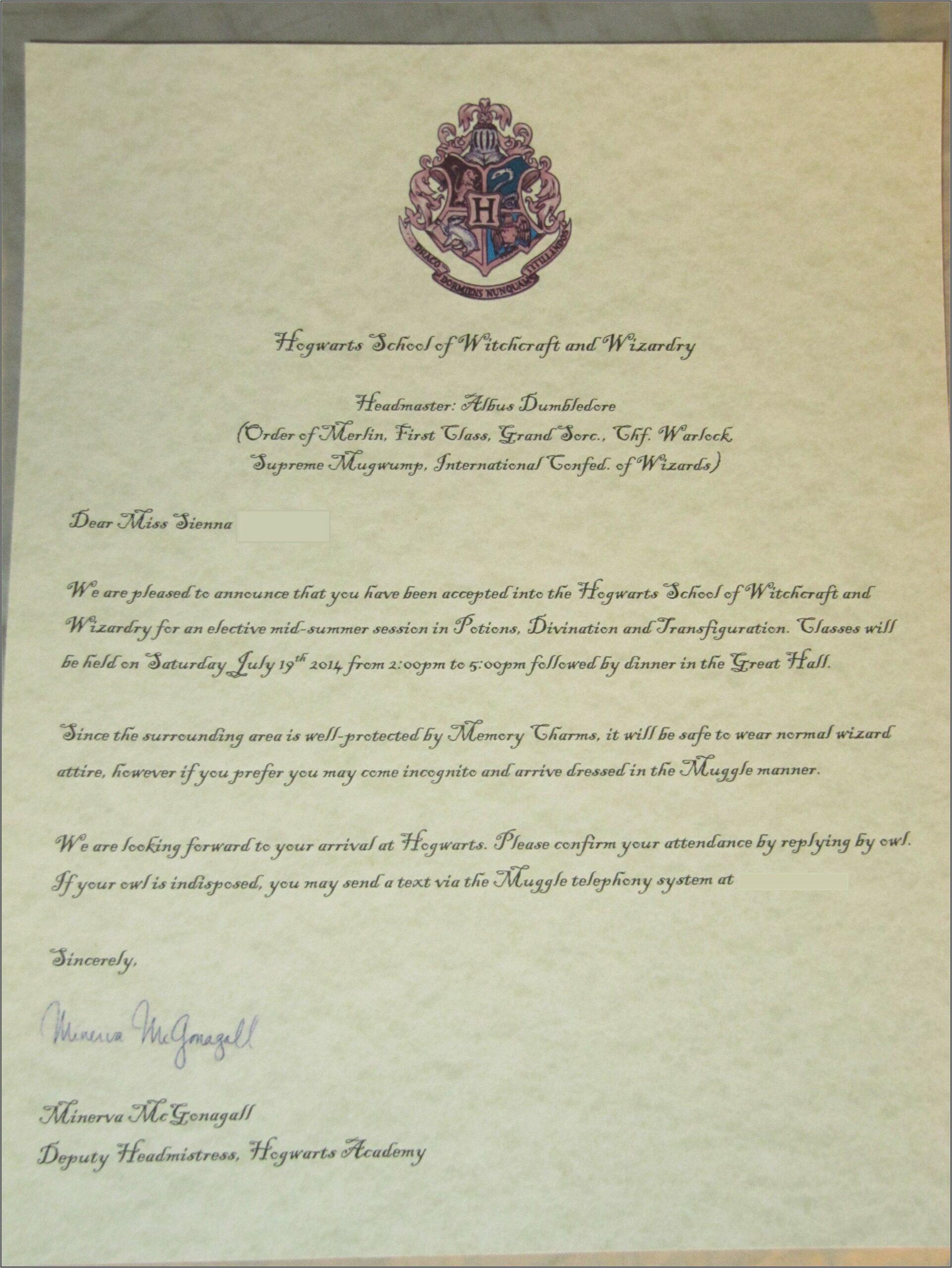 Harry Potter Hogwarts Acceptance Letter Template