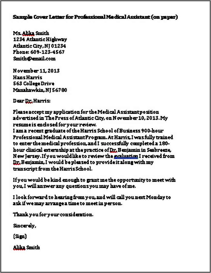 Healthcare Assistant Cover Letter Sample