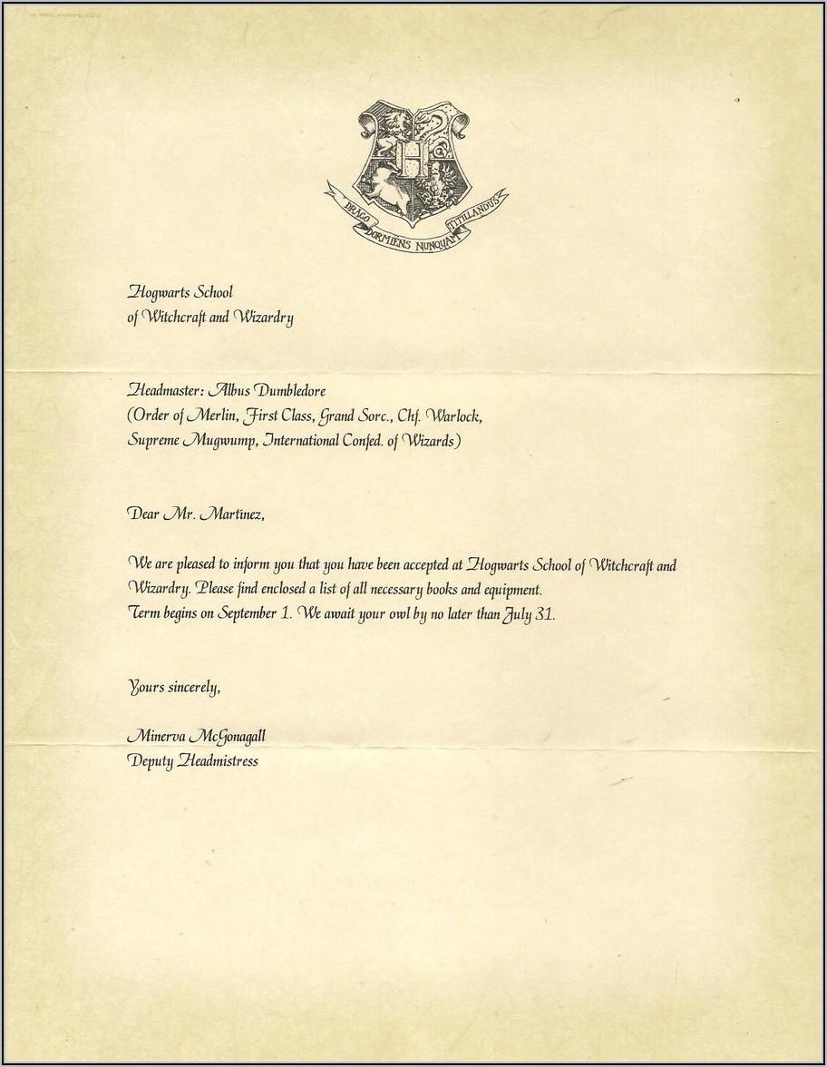 Hogwarts Acceptance Letter Example