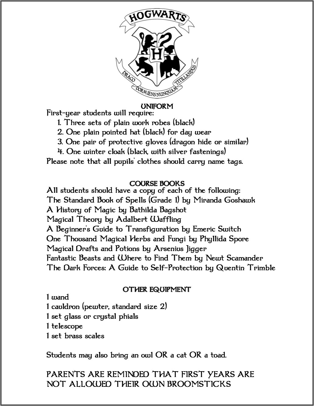 Hogwarts Acceptance Letter Template Microsoft Word