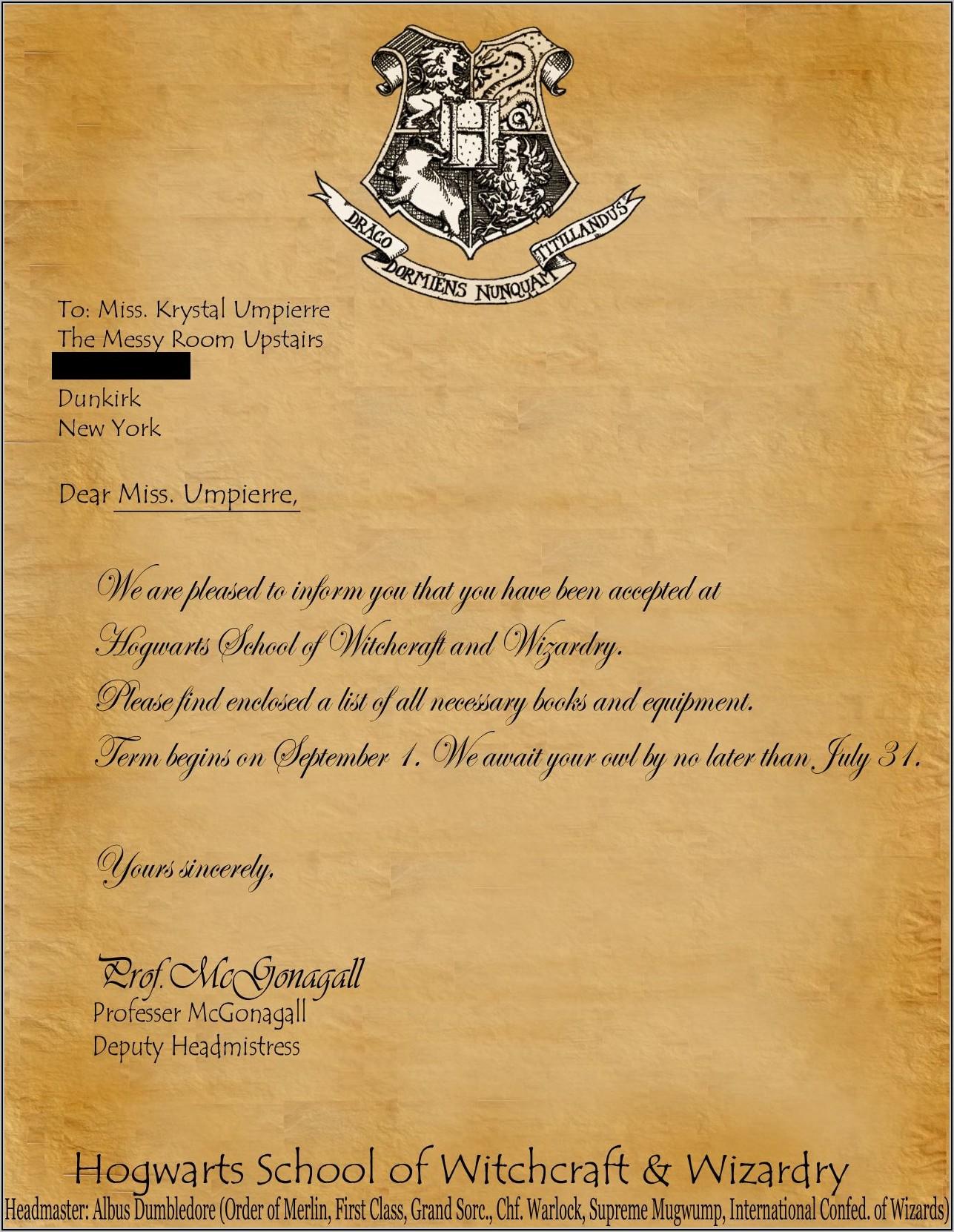 Hogwarts Acceptance Letter Template