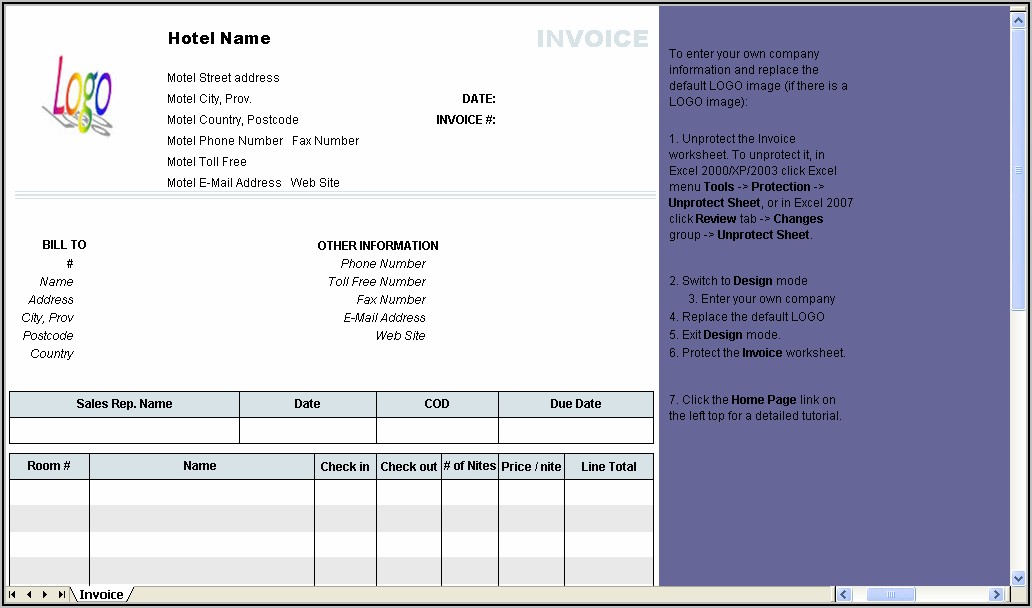 Indian Hotel Bill Format In Word Free Download