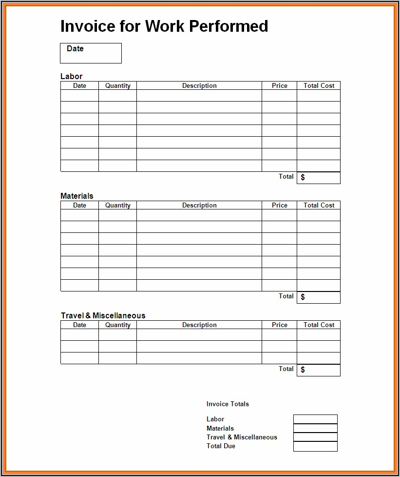 Invoice For Work Performed Template
