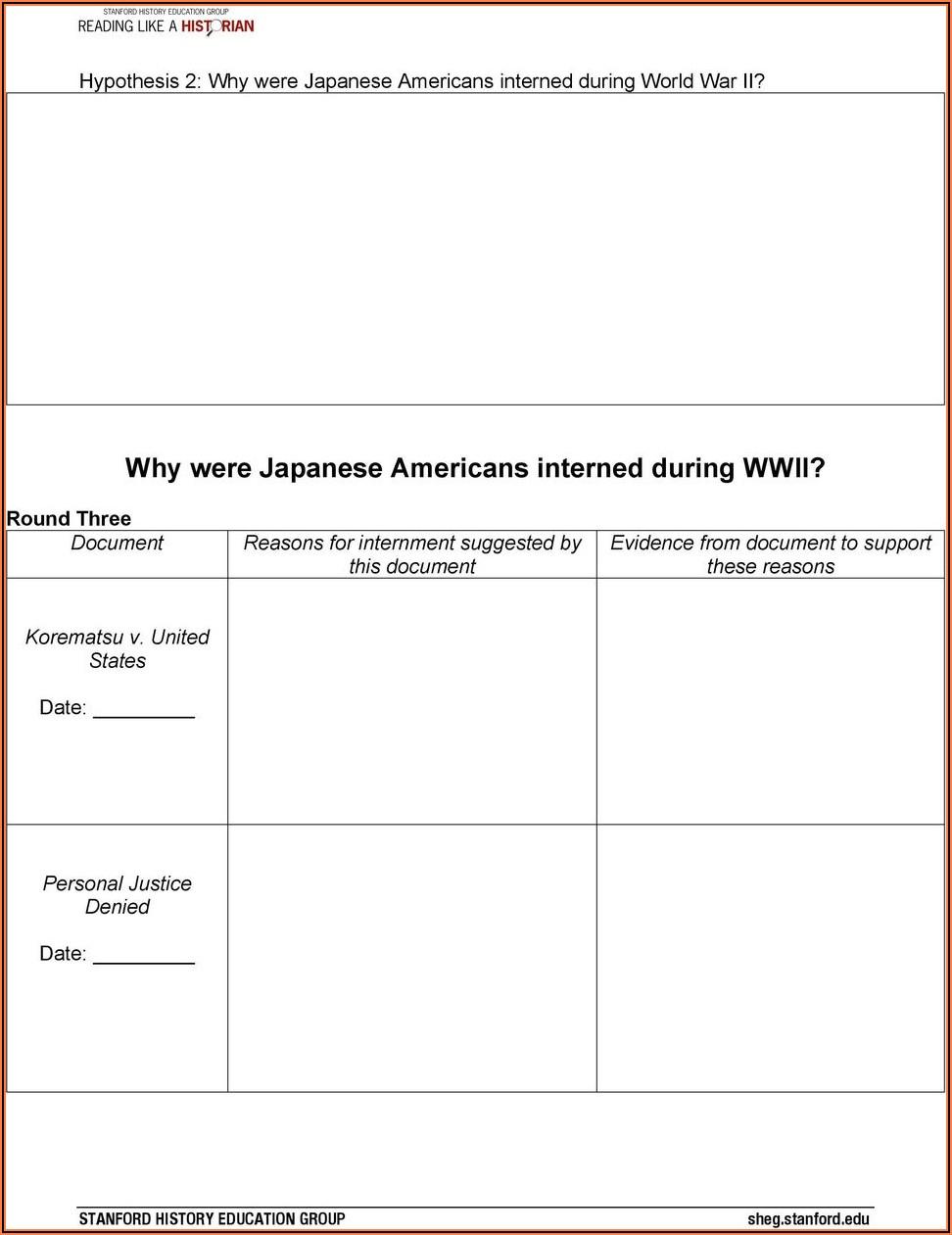 Japanese Internment Timeline Worksheet Answers