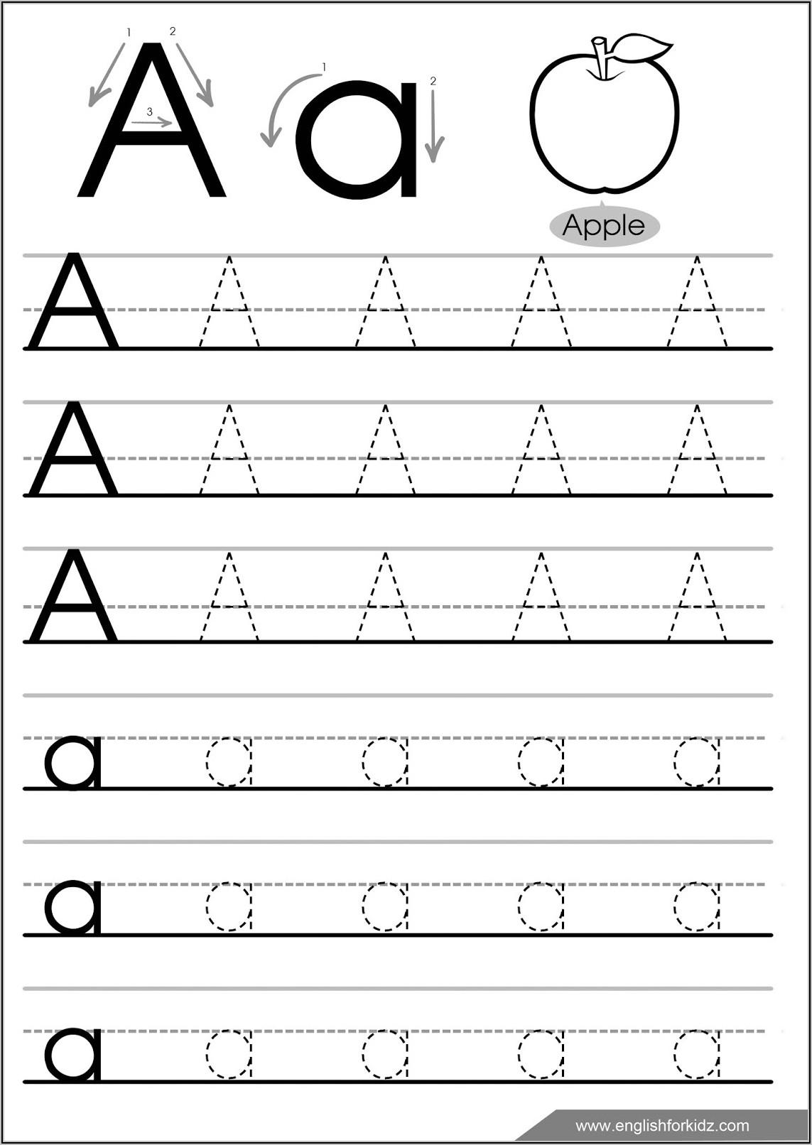 Kindergarten Letter Tracing Worksheets Pdf
