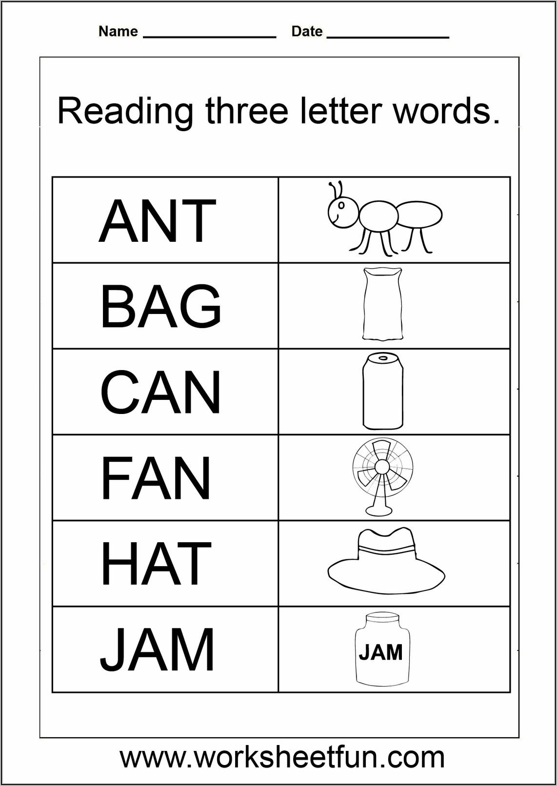 Kindergarten Three Letter Words Worksheets Pdf