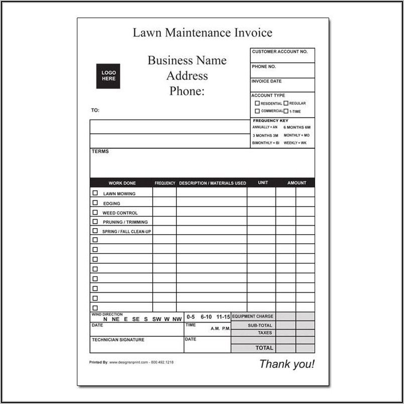 Lawn Service Invoice Examples