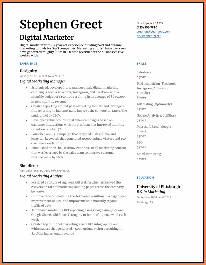 Marketing Resume Format In Word File Free Download