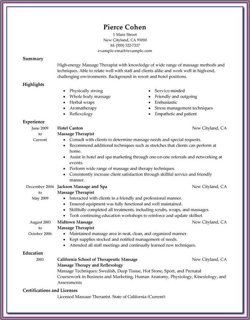 Massage Therapist Invoice Template