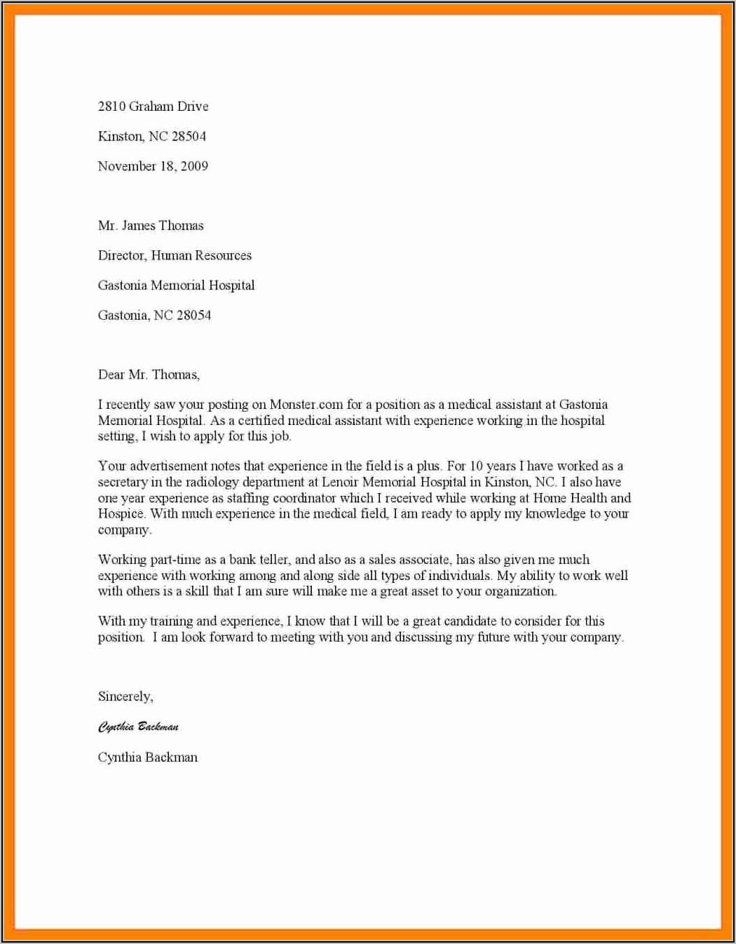 Medical Administrative Assistant Cover Letter Sample