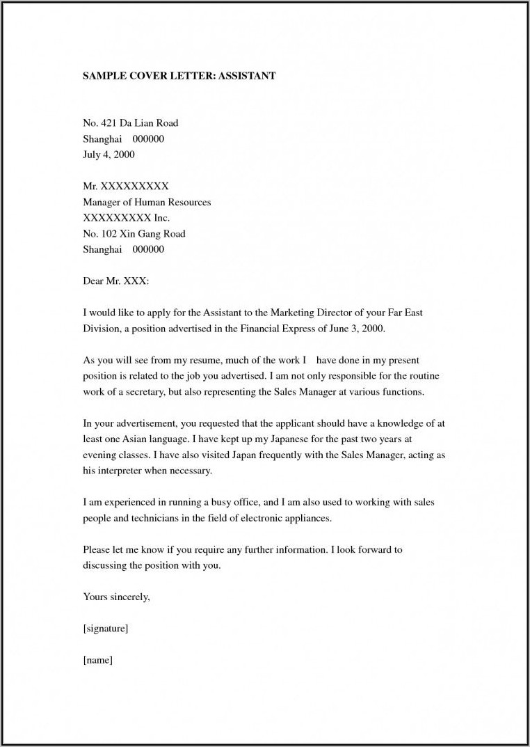 Medical Assistant Cover Letter Samples With Experience