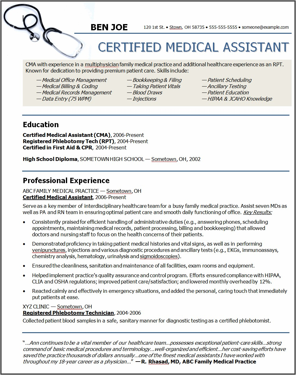 Medical Office Assistant Cover Letter No Experience