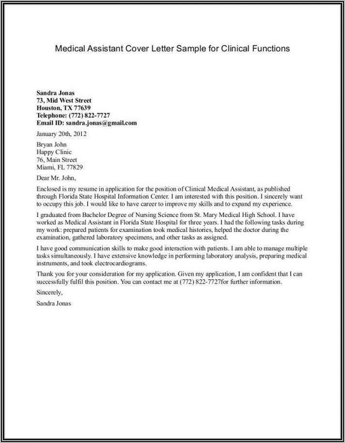 Medical Office Assistant Resume Cover Letter