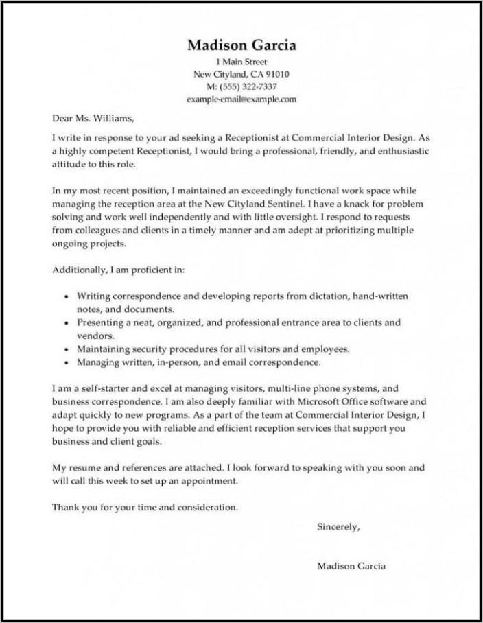 Medical Receptionist Cover Letter Entry Level