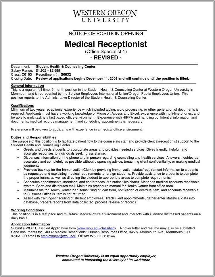 Medical Receptionist Cover Letter Template