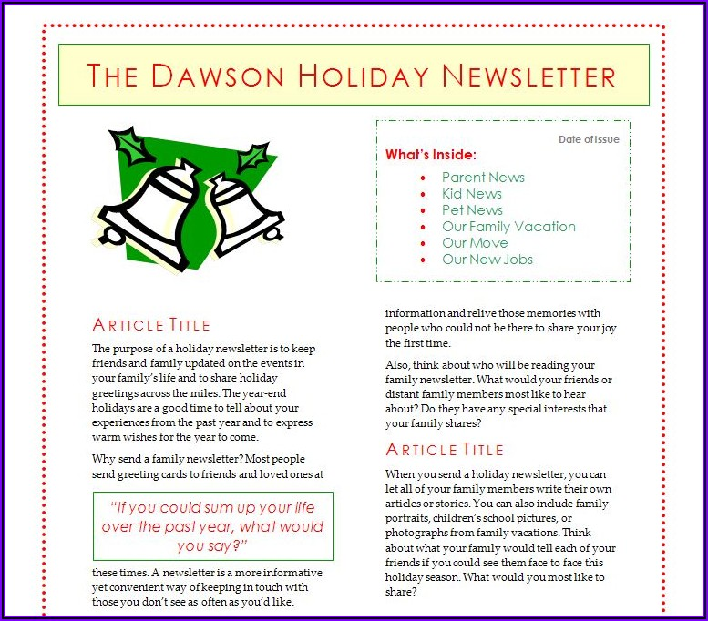 Microsoft Word Holiday Newsletter Template