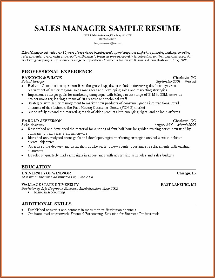 Microsoft Word Sales Manager Resume Template