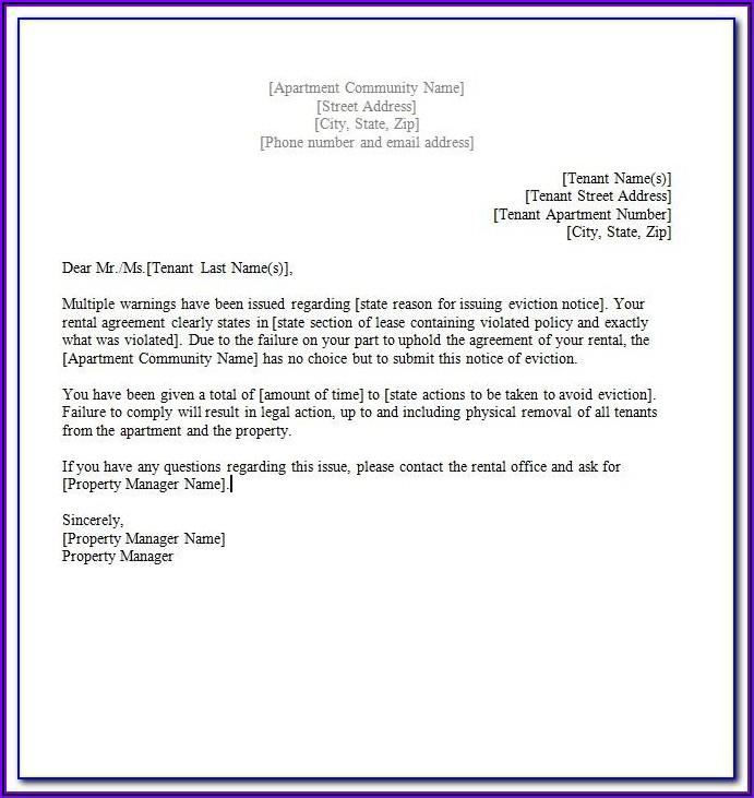 Microsoft Word Template Eviction Notice