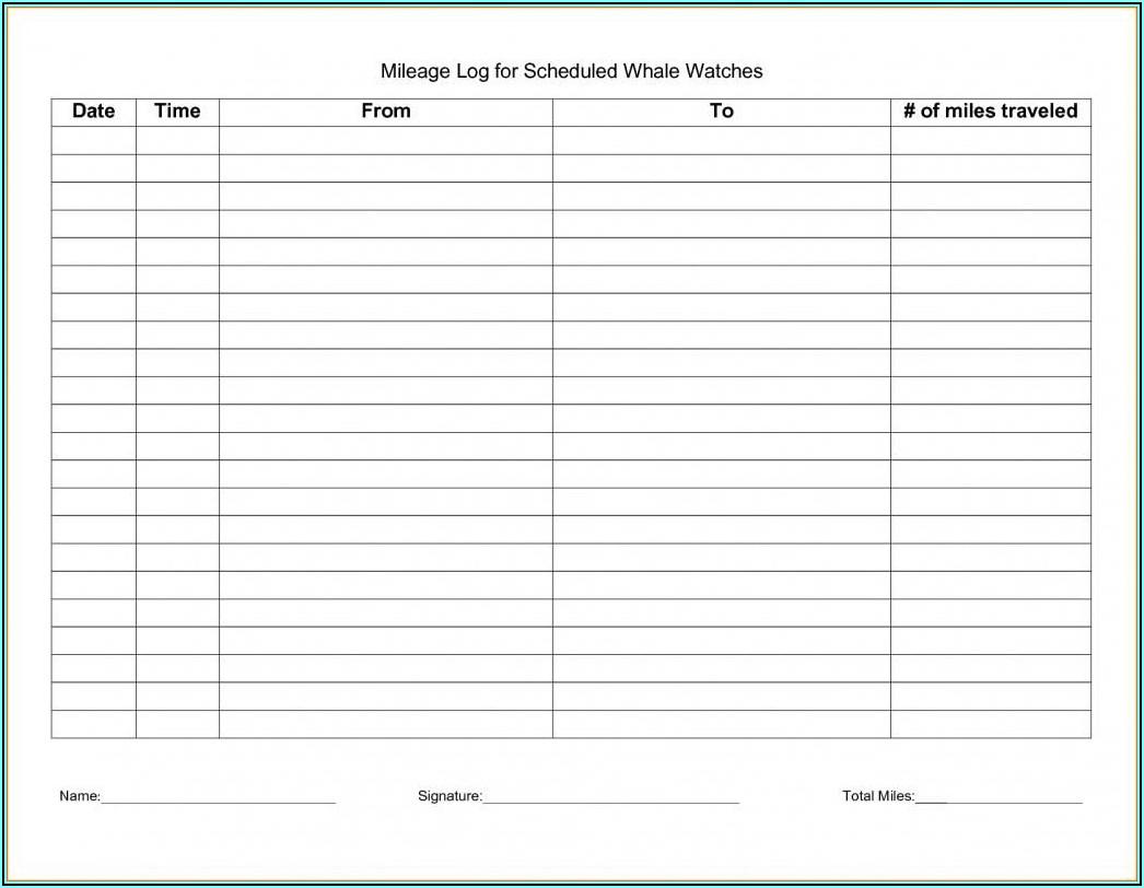 Mileage Log Printable Free