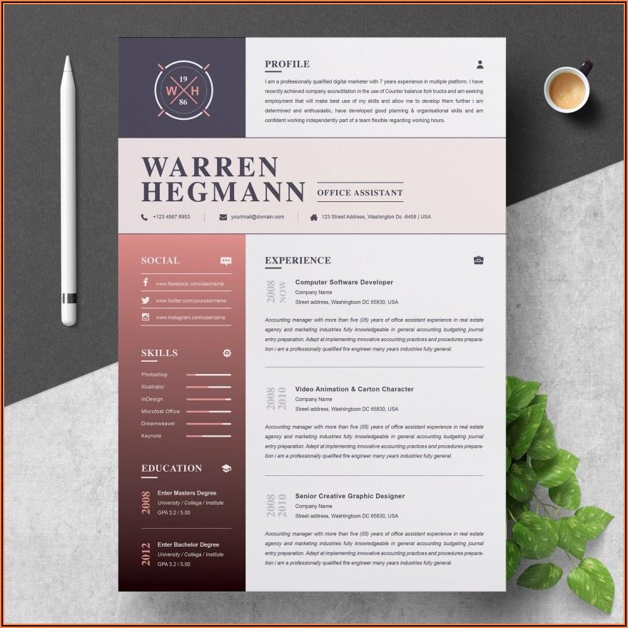 Modern Resume Template Free Download Pdf