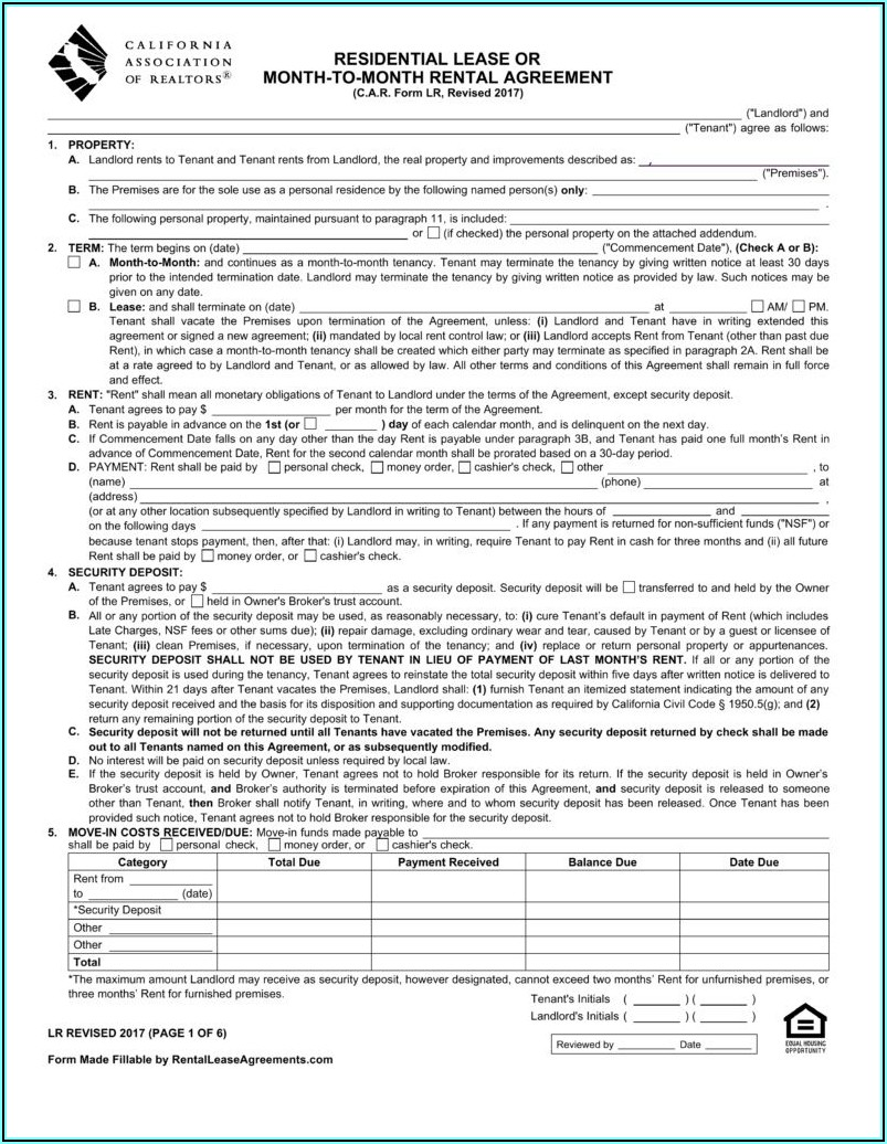 Month To Month Commercial Lease Agreement California