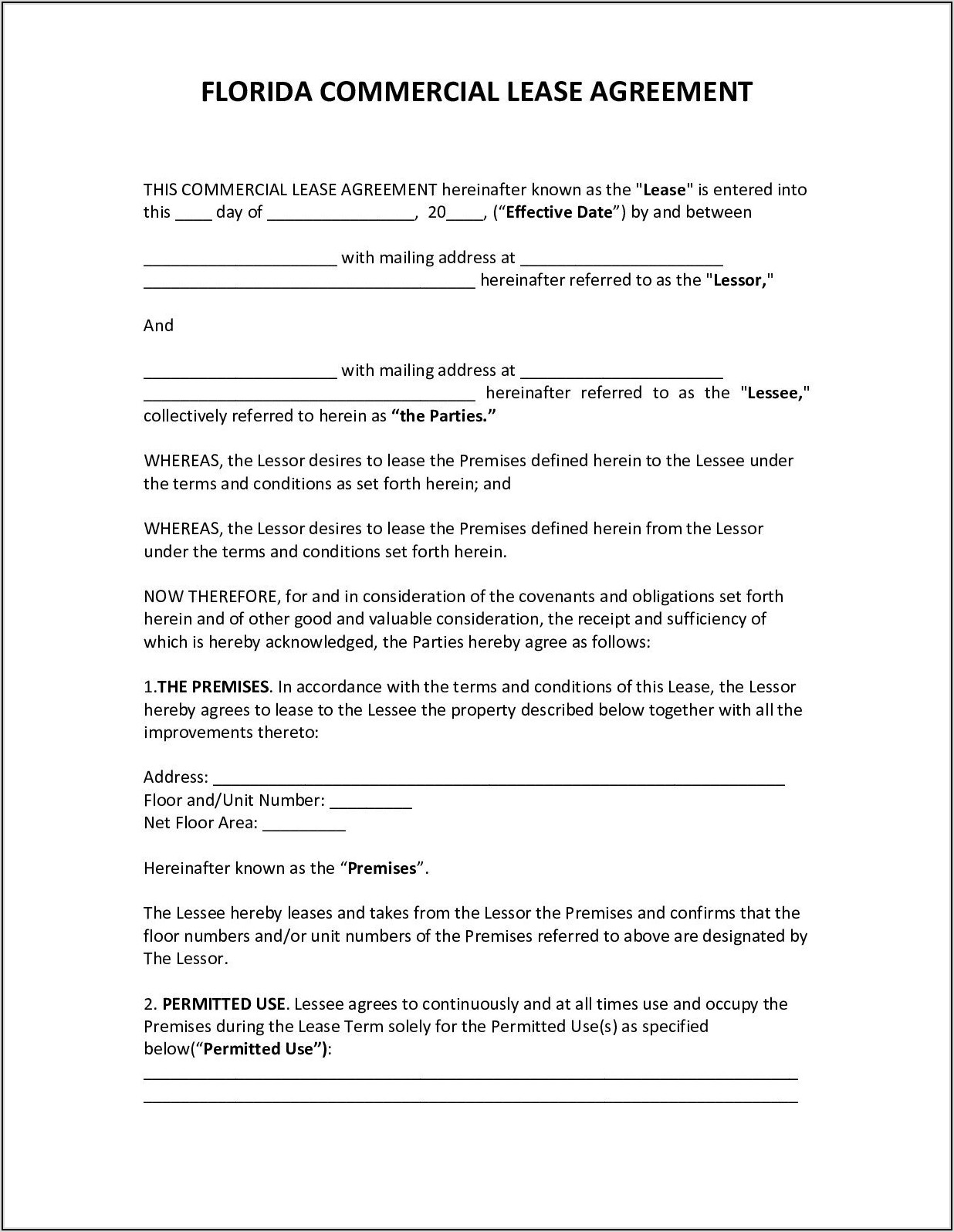 Month To Month Commercial Lease Agreement Florida