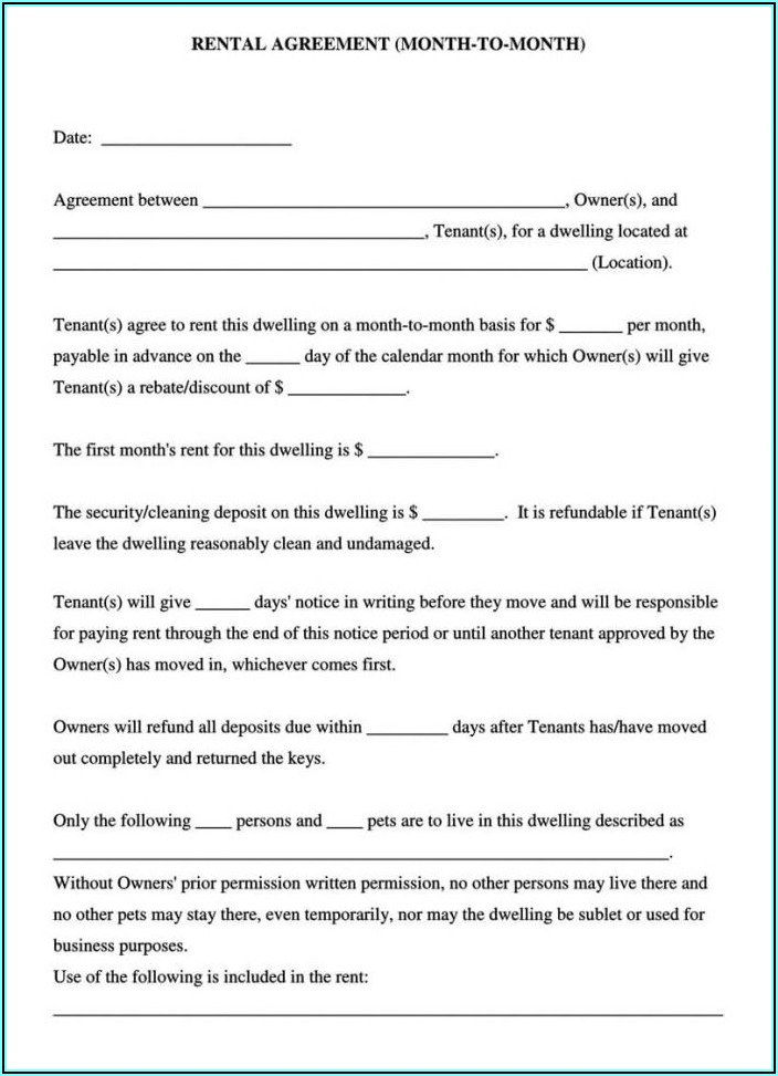 Month To Month Lease Agreement California Pdf