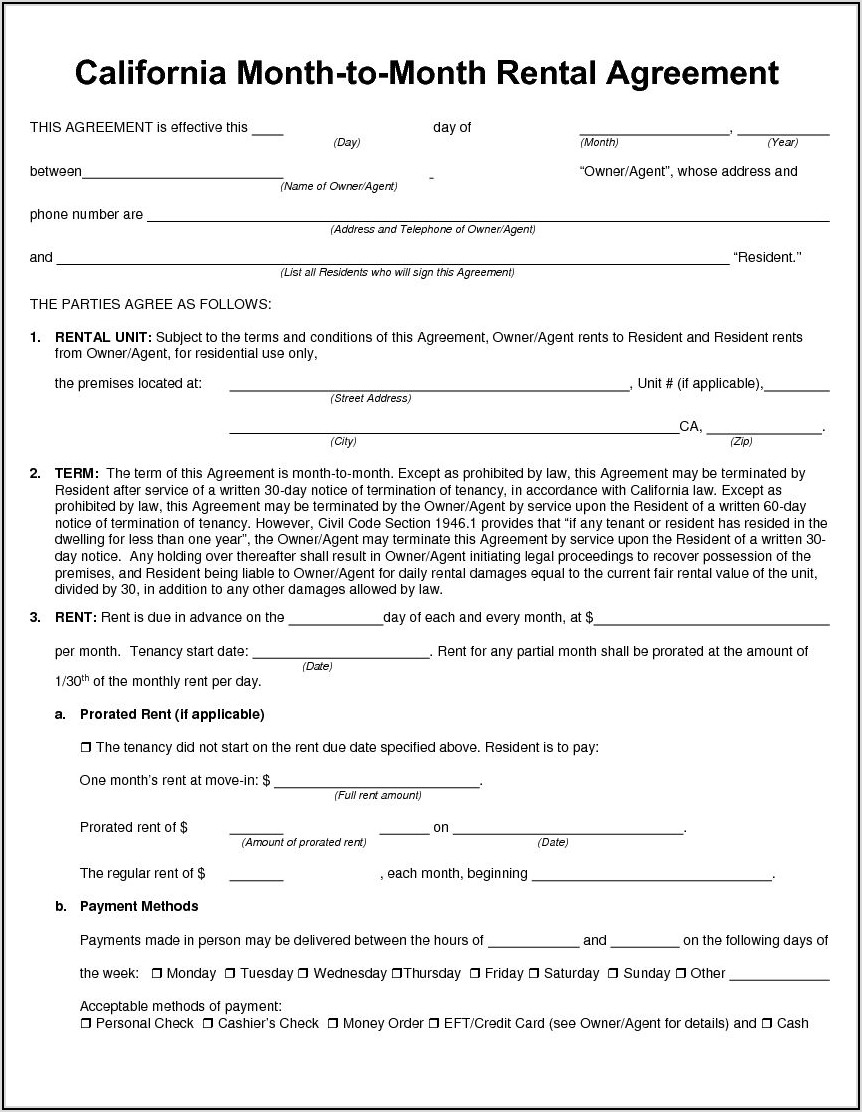 Month To Month Lease Contract Pdf