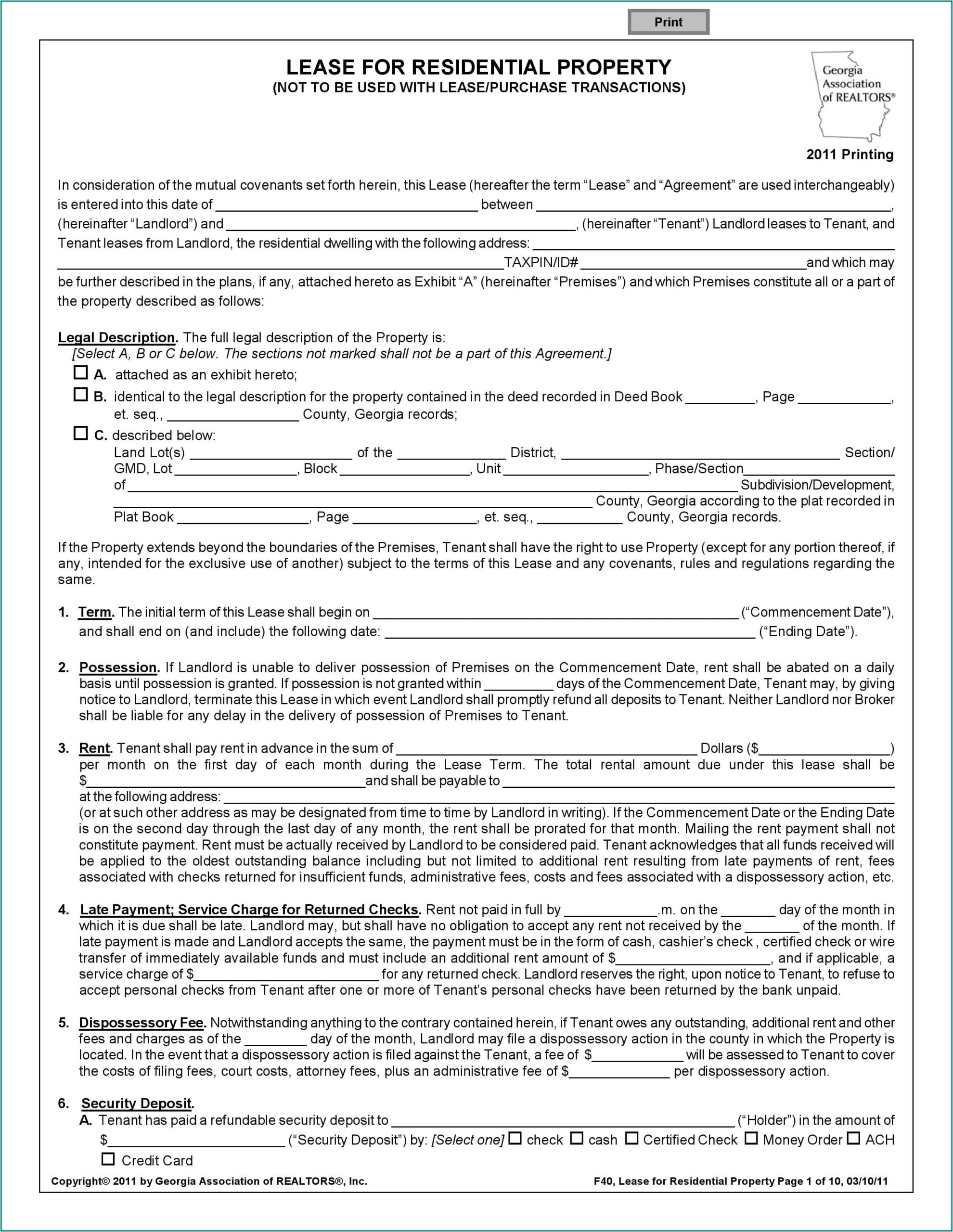 Month To Month Lease Form Ga