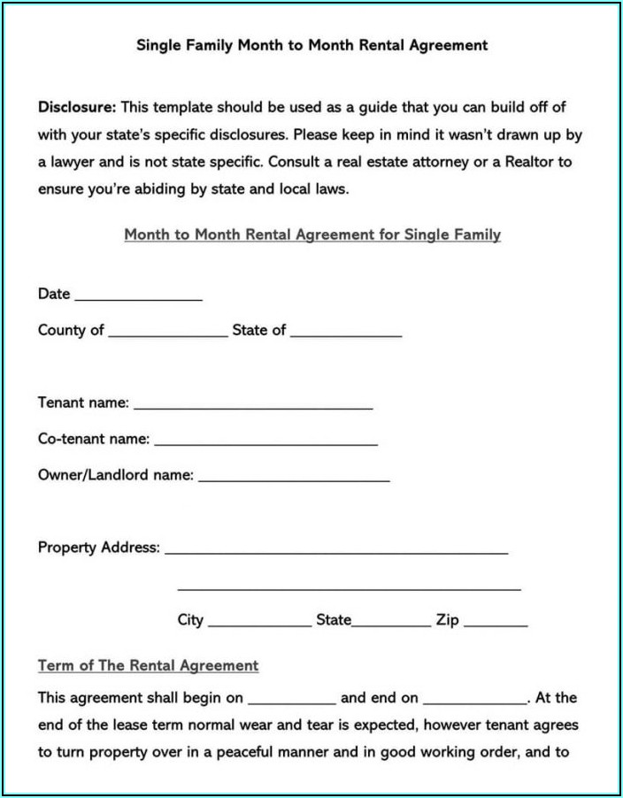Month To Month Lease Form Pdf