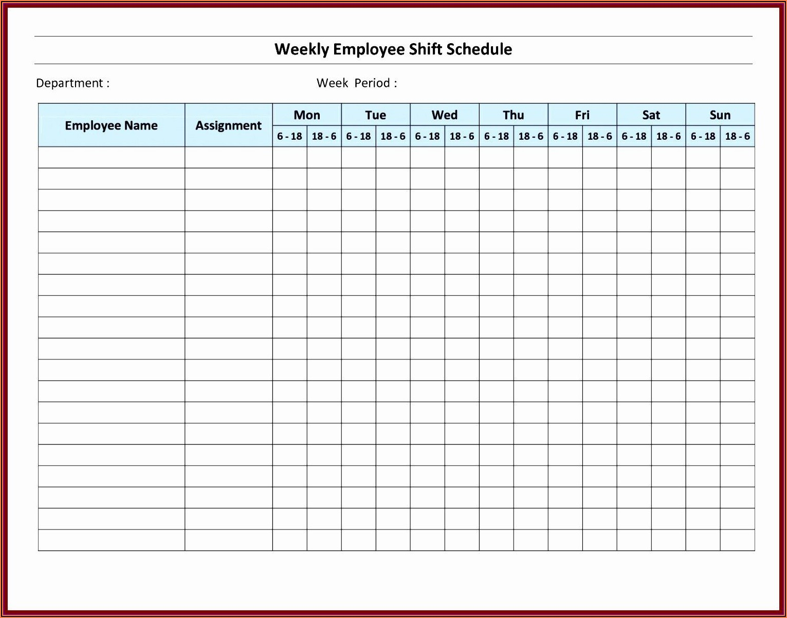 Monthly Employee Schedule Template Free