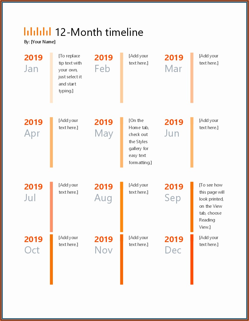 Monthly Timeline Template Free