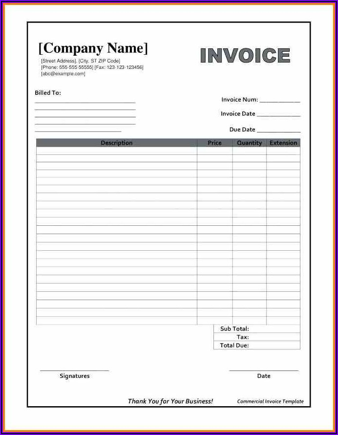 Ms Word Invoice Template Download