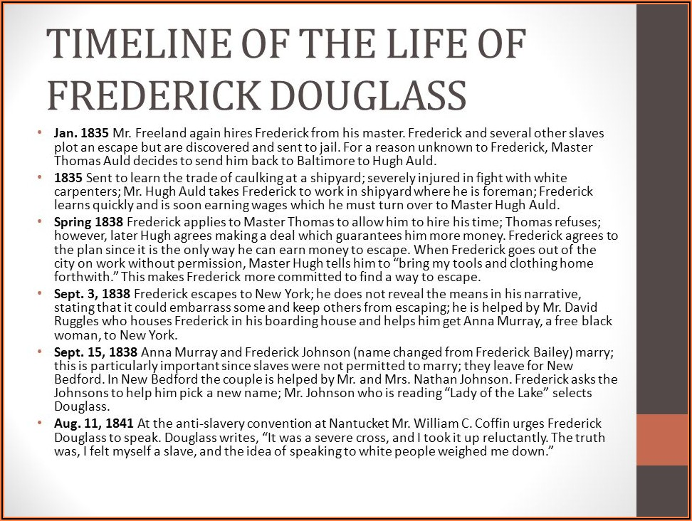 Narrative Of The Life Of Frederick Douglass An American Slave Timeline