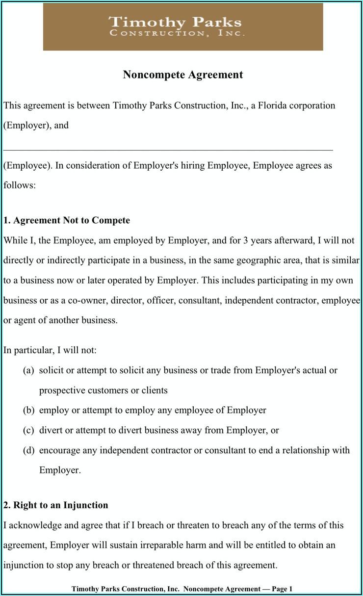 Non Compete Agreement Sample Pdf