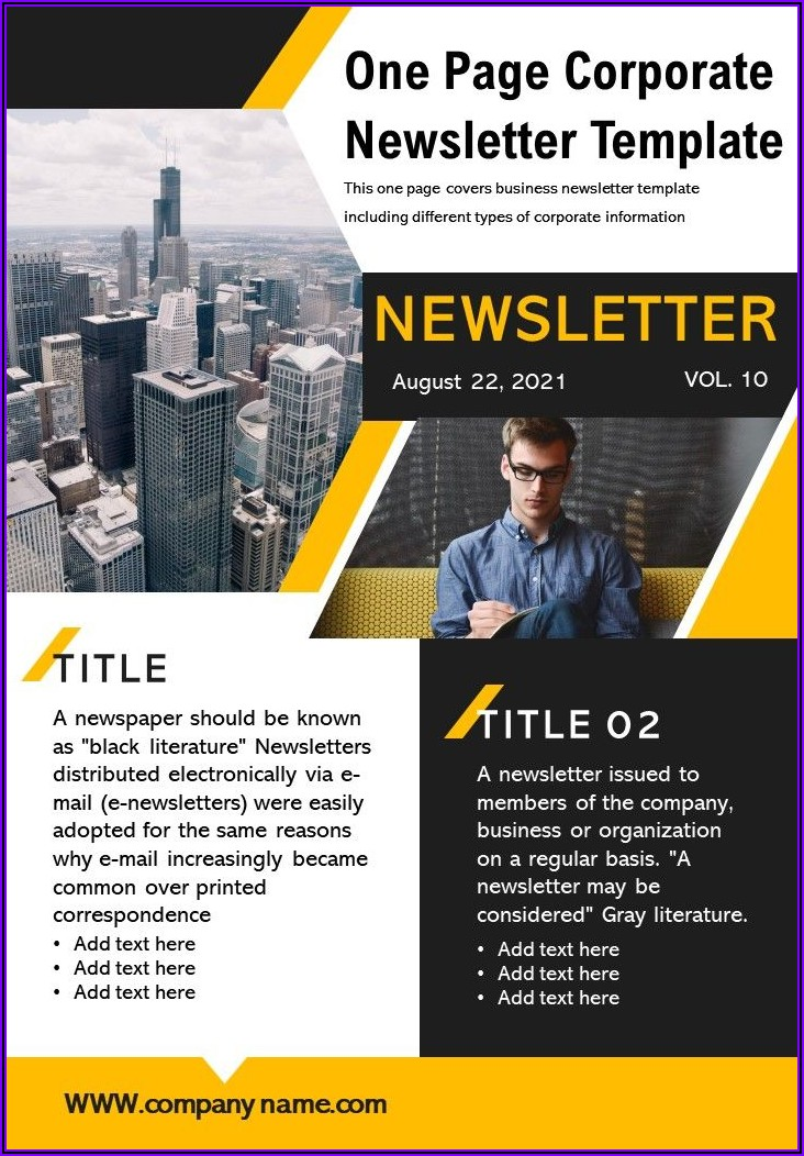 One Page Newsletter Templates Free Download Word