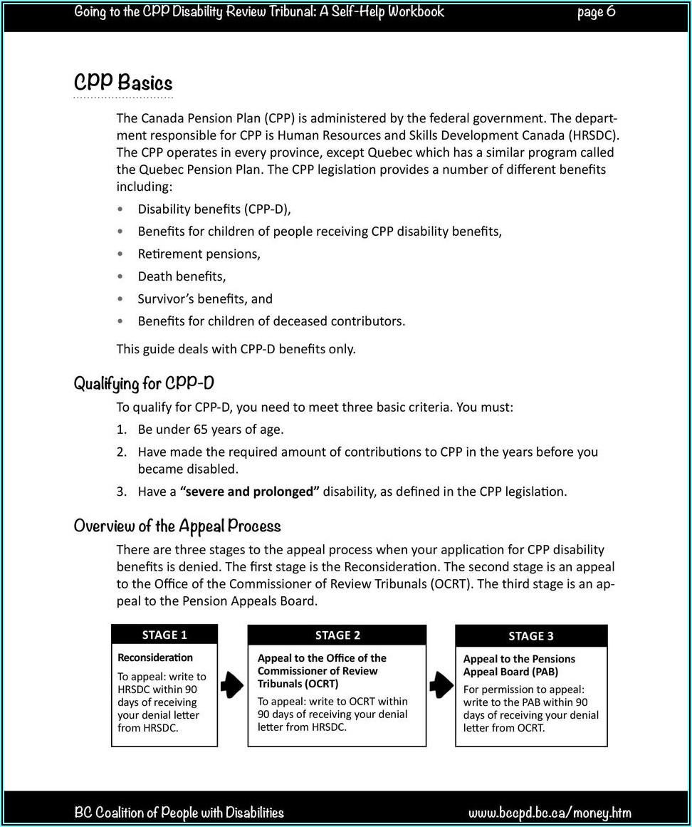 Ontario Cpp Disability Forms