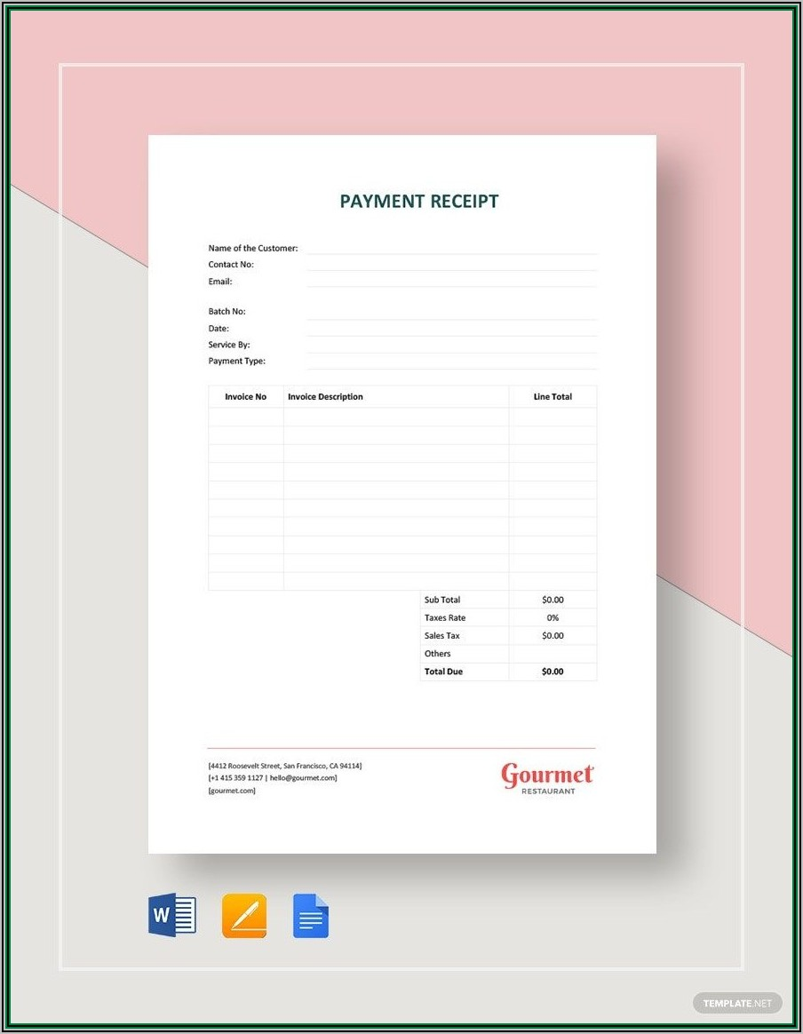 Payment Receipt Letter Template Word