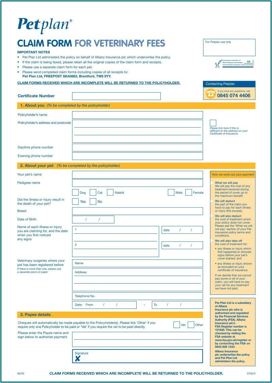 Petplan Blank Claim Form
